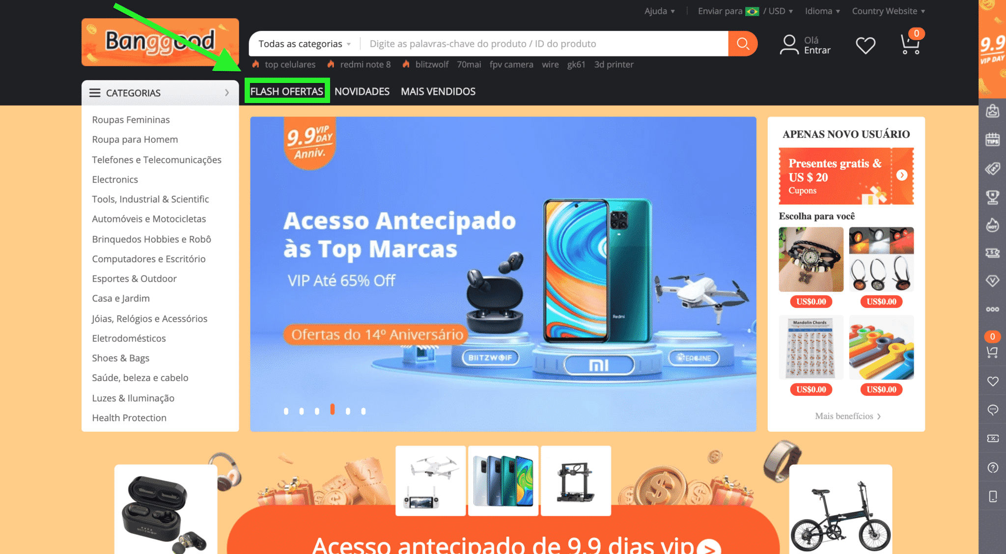 Captura de Tela do site BANGOOD | Flash Ofertas